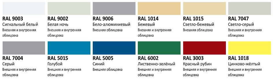 Цветовые решения профилированного листа ВС-18
